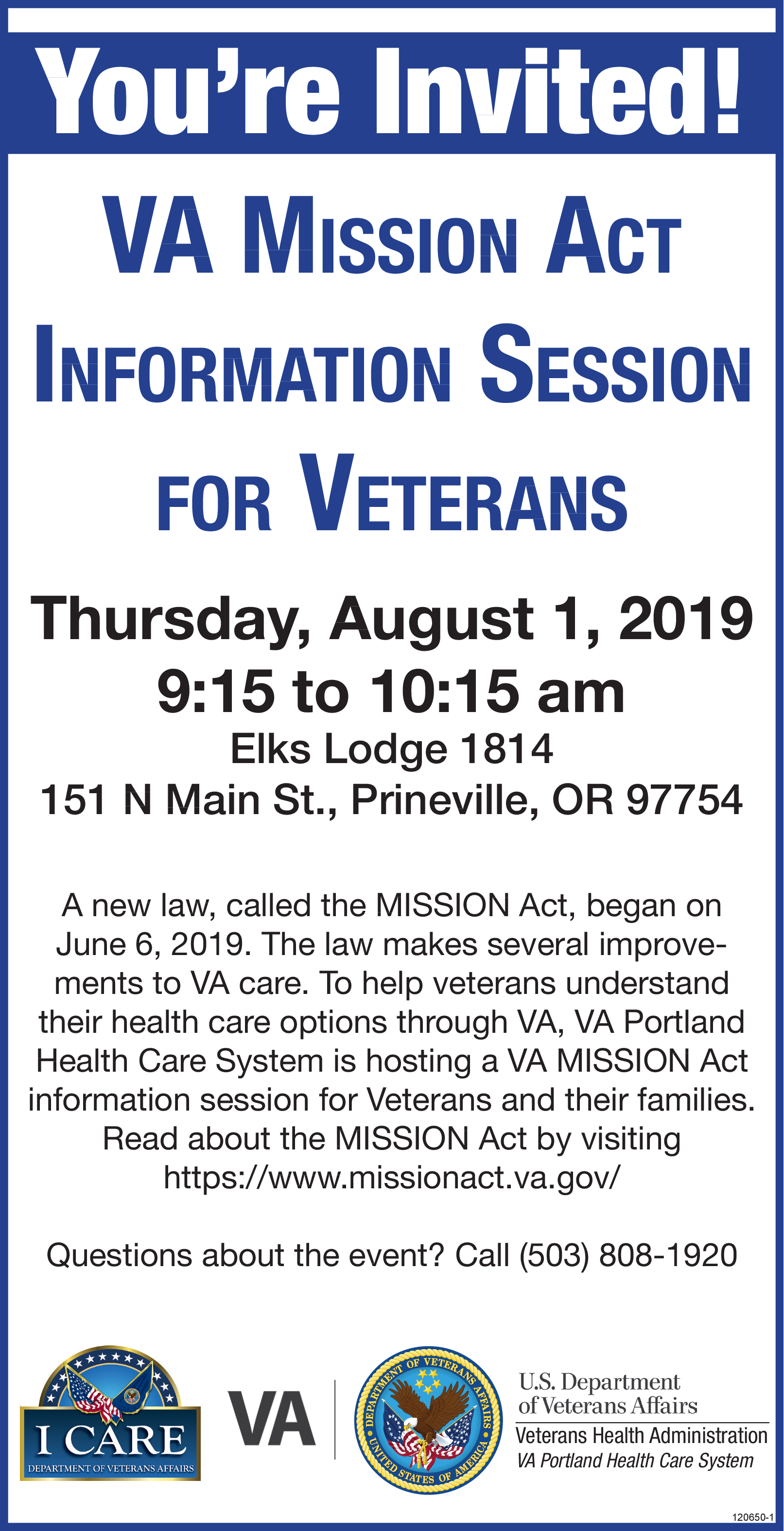 VA Mission Act Information Session in West Linn, OR, Government